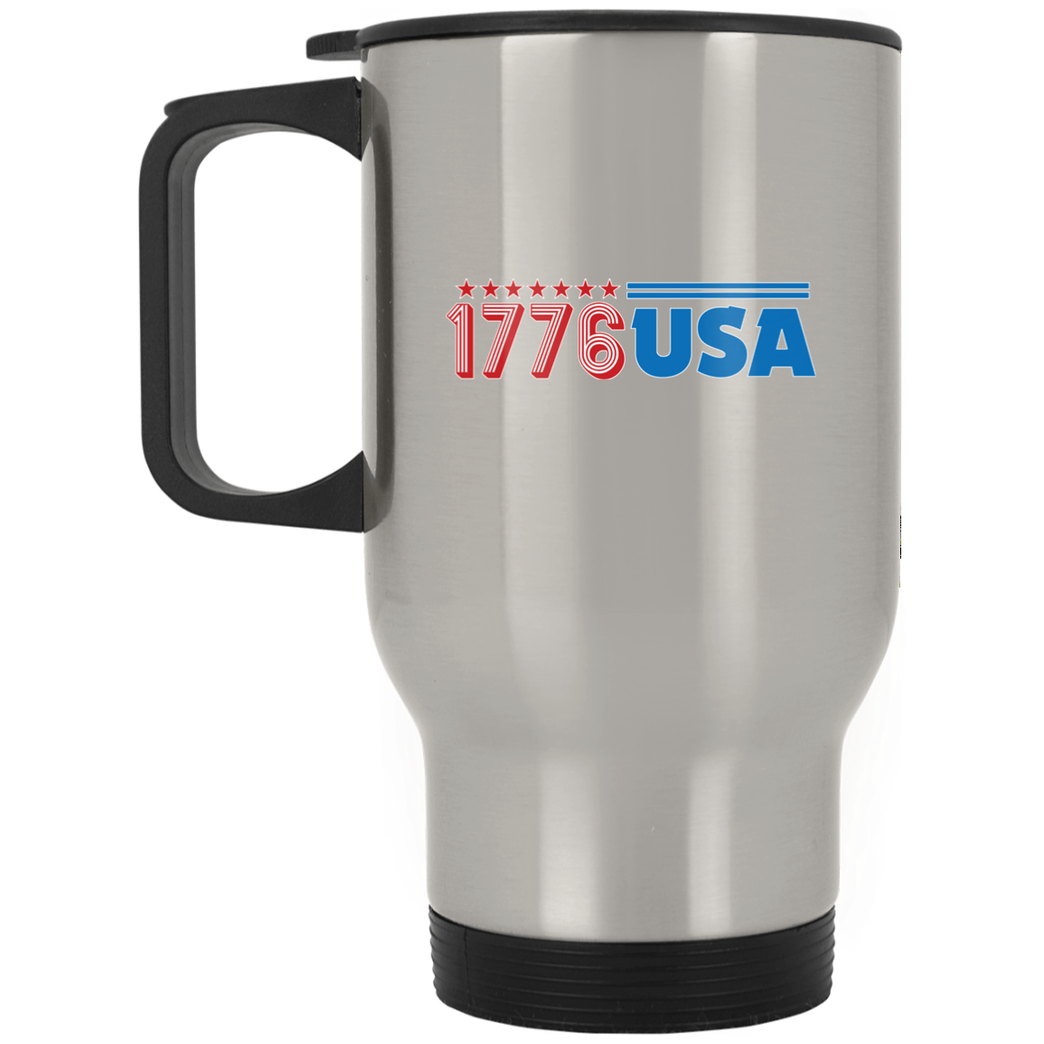 Patriotic - 1776 USA Silver Stainless Travel Mug