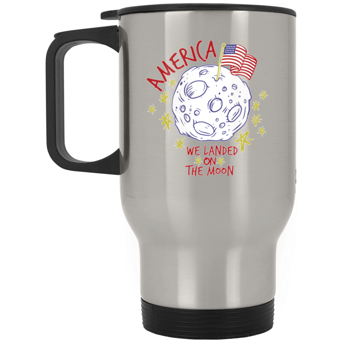 Patriotic - landing on the moon Silver Stainless Travel Mug