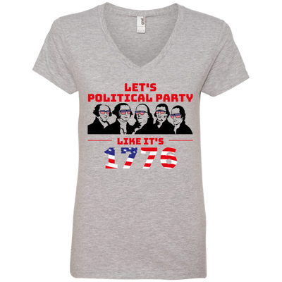 4th of July_Let's Political Party like it's 1776 Anvil Ladies' V-Neck T-Shirt