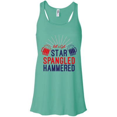 4th of July_Let's Get Star Spangled Hammered Bella + Canvas Flowy Racerback Tank