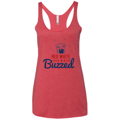 4th of July_Red White and Buzzed Next Level Ladies' Triblend Racerback Tank