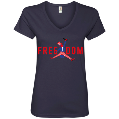 4th of July_FREEDOM Anvil Ladies' V-Neck T-Shirt