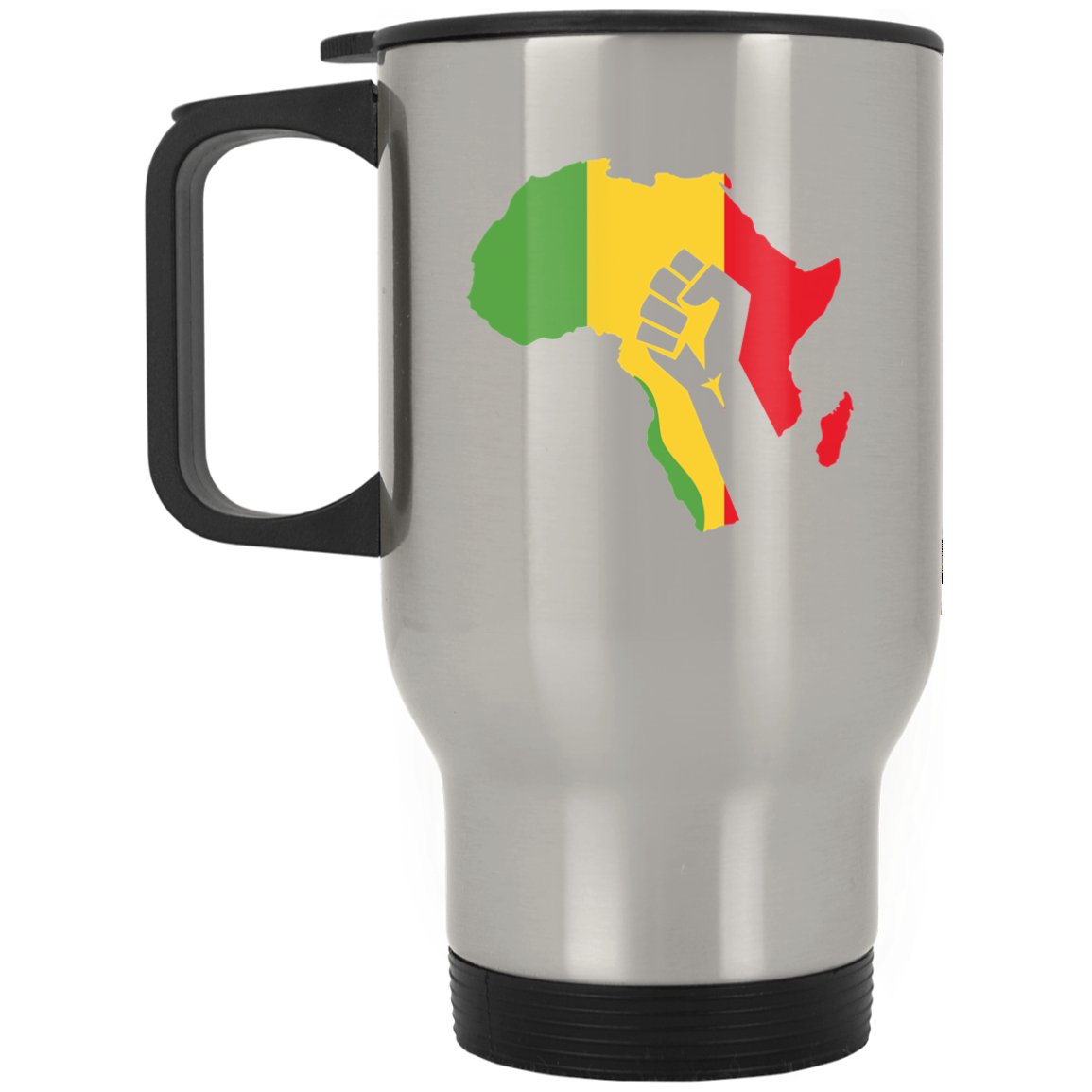 African Pride - Power Fist Silver Stainless Travel Mug