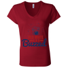 4th of July_Red White and Buzzed Bella + Canvas Ladies' Jersey V-Neck T-Shirt