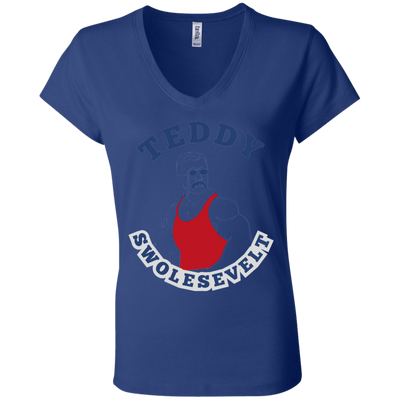 4th of July_Teddy Swolesevelt Bella + Canvas Ladies' Jersey V-Neck T-Shirt