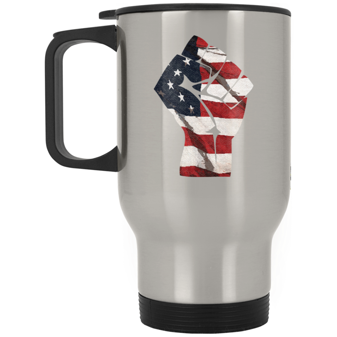 Patriotic - Flag Fist Silver Stainless Travel Mug