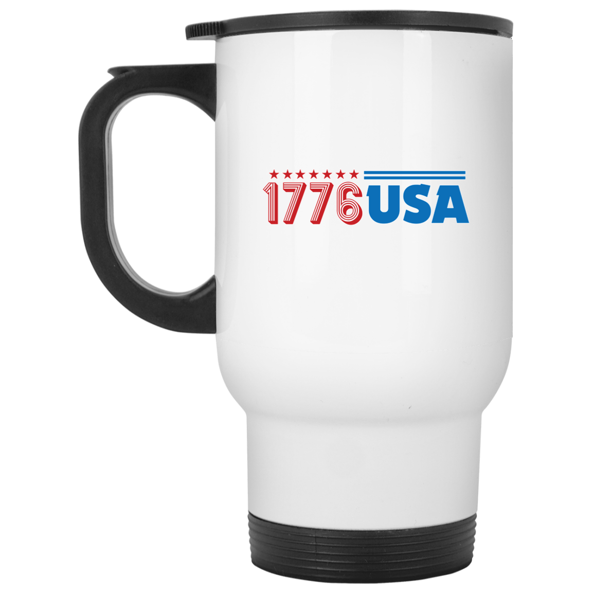 Patriotic - 1776 USA White Travel Mug