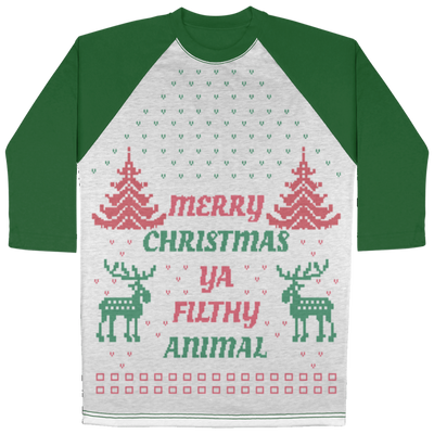 Merry Christmas Ya Filthy Animal 2 3/4 Sleeve Raglan - Christmas Story Movie Shirt