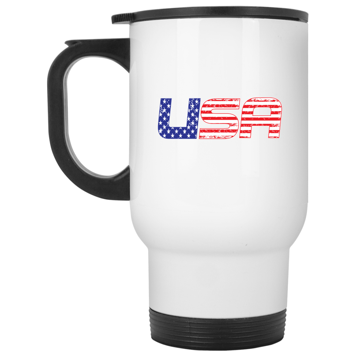 Patriotic - USA flag White Travel Mug