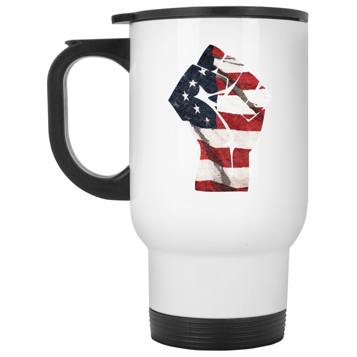 Patriotic - Flag Fist White Travel Mug