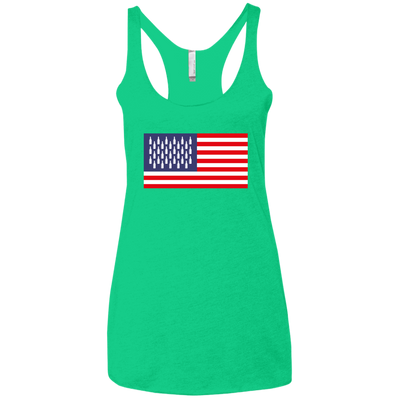 4th of July_USA Beer Flag Next Level Ladies' Triblend Racerback Tank