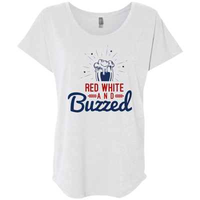 4th of July_Red White and Buzzed Next Level Ladies' Triblend Dolman Sleeve