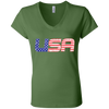 Patriotic - USA flag Bella + Canvas Ladies' Jersey V-Neck T-Shirt
