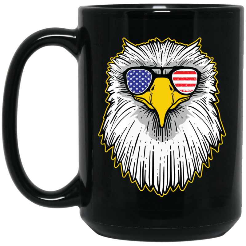 Patriotic - Eagle and Shades 15 oz. Black Mug