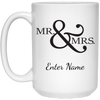 Wedding - Mr. & Mrs. Big And Symbol - Custom 15 oz. White Mug