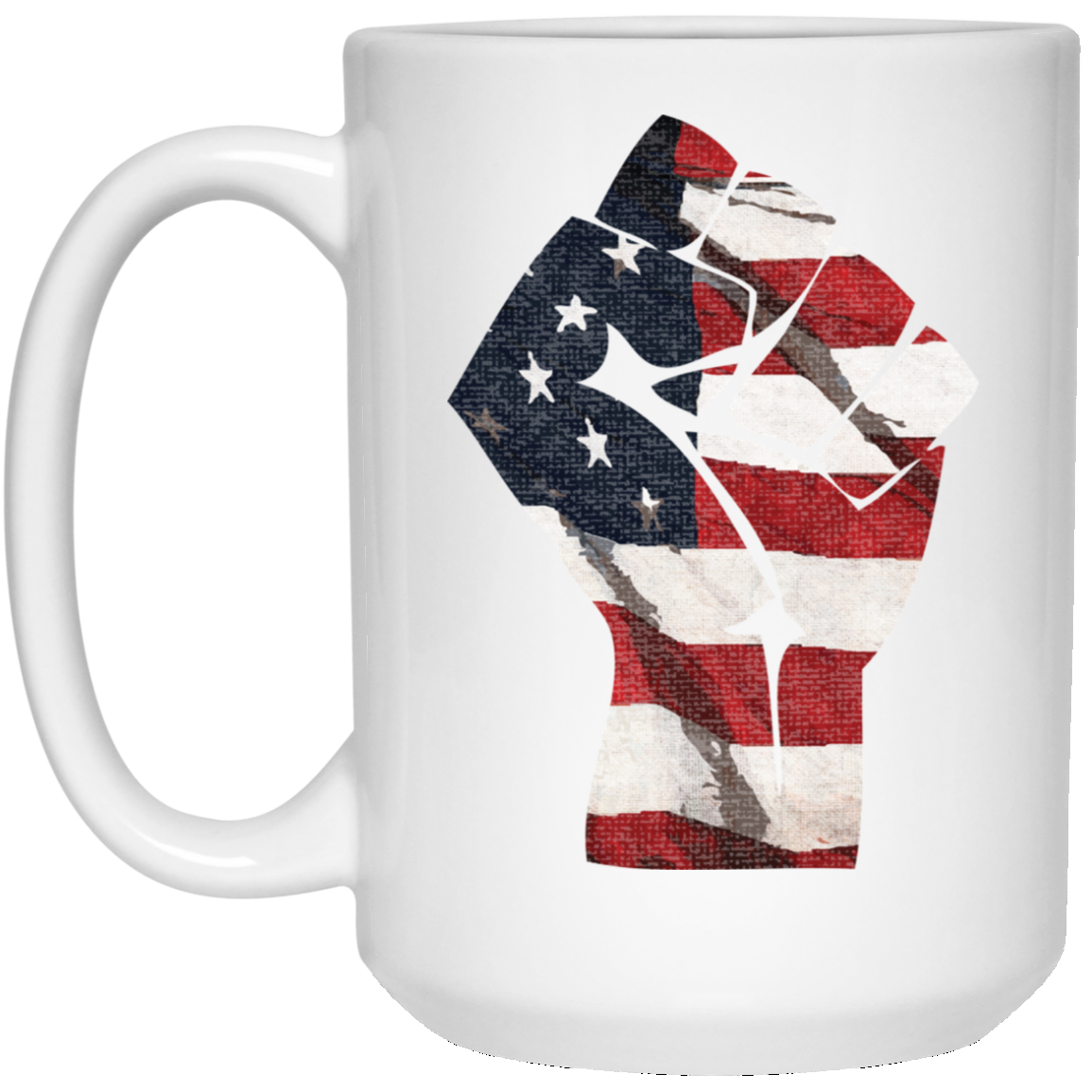Patriotic - Flag Fist 15 oz. White Mug