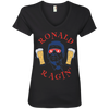 4th of July_Ronald Ragin' Anvil Ladies' V-Neck T-Shirt