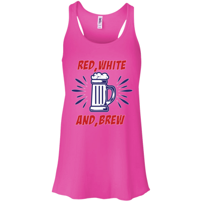 Patriotic - red white and brew Bella + Canvas Flowy Racerback Tank