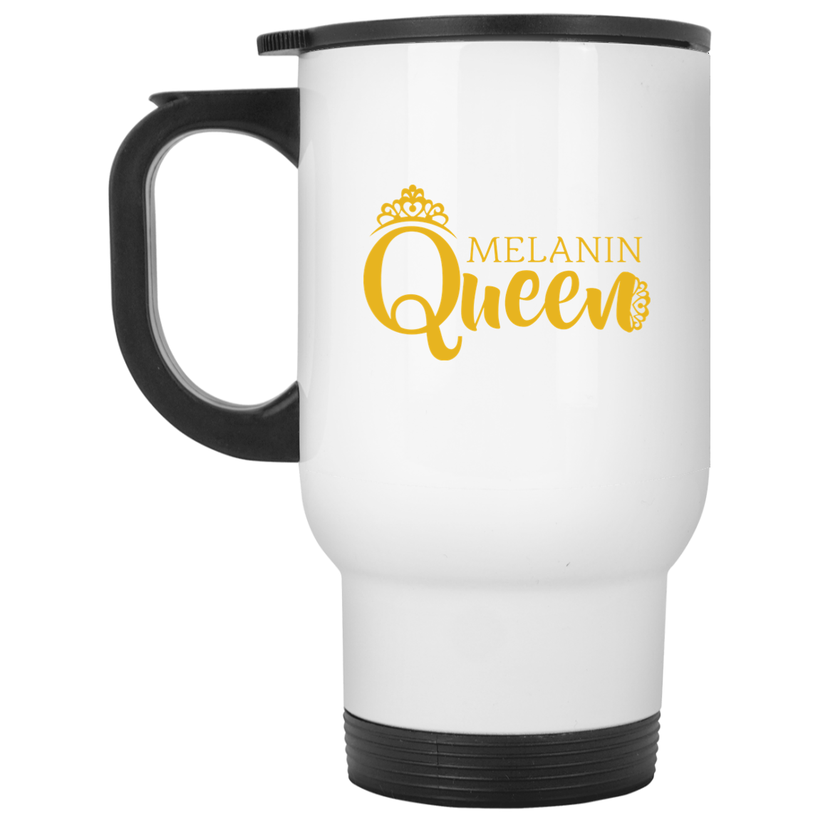 African Pride - Melanin Queen White Travel Mug