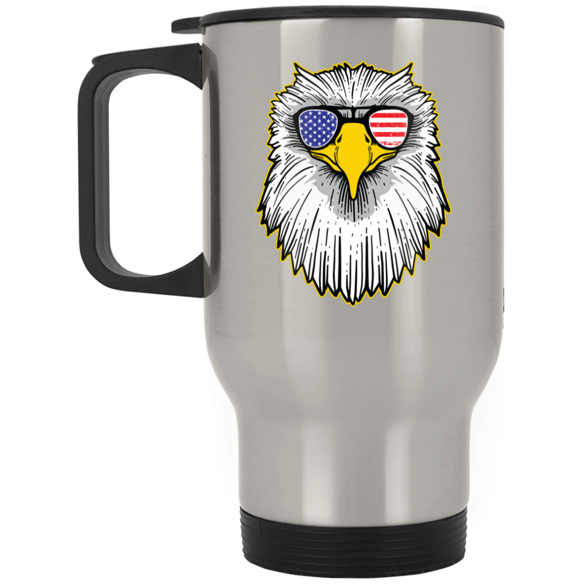 Patriotic - Eagle and Shades Silver Stainless Travel Mug