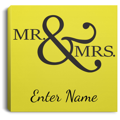 Wedding - Mr. & Mrs. Big And Symbol - Custom Square Canvas .75in Frame