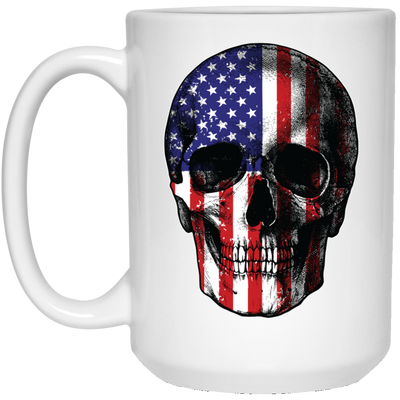 Patriotic - Skull Flag 15 oz. White Mug
