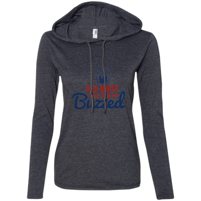 4th of July_Red White and Buzzed Anvil Ladies' Long Sleeve T-Shirt Hoodie