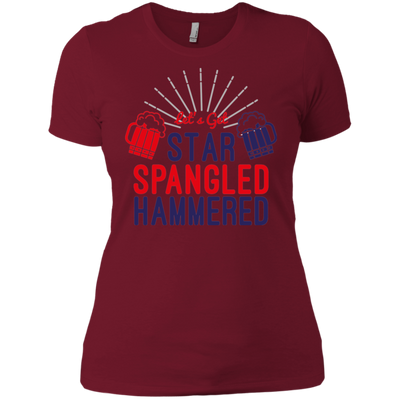 4th of July_Let's Get Star Spangled Hammered Next Level Ladies' Boyfriend T-Shirt