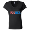Patriotic - 1776 USA Bella + Canvas Ladies' Jersey V-Neck T-Shirt