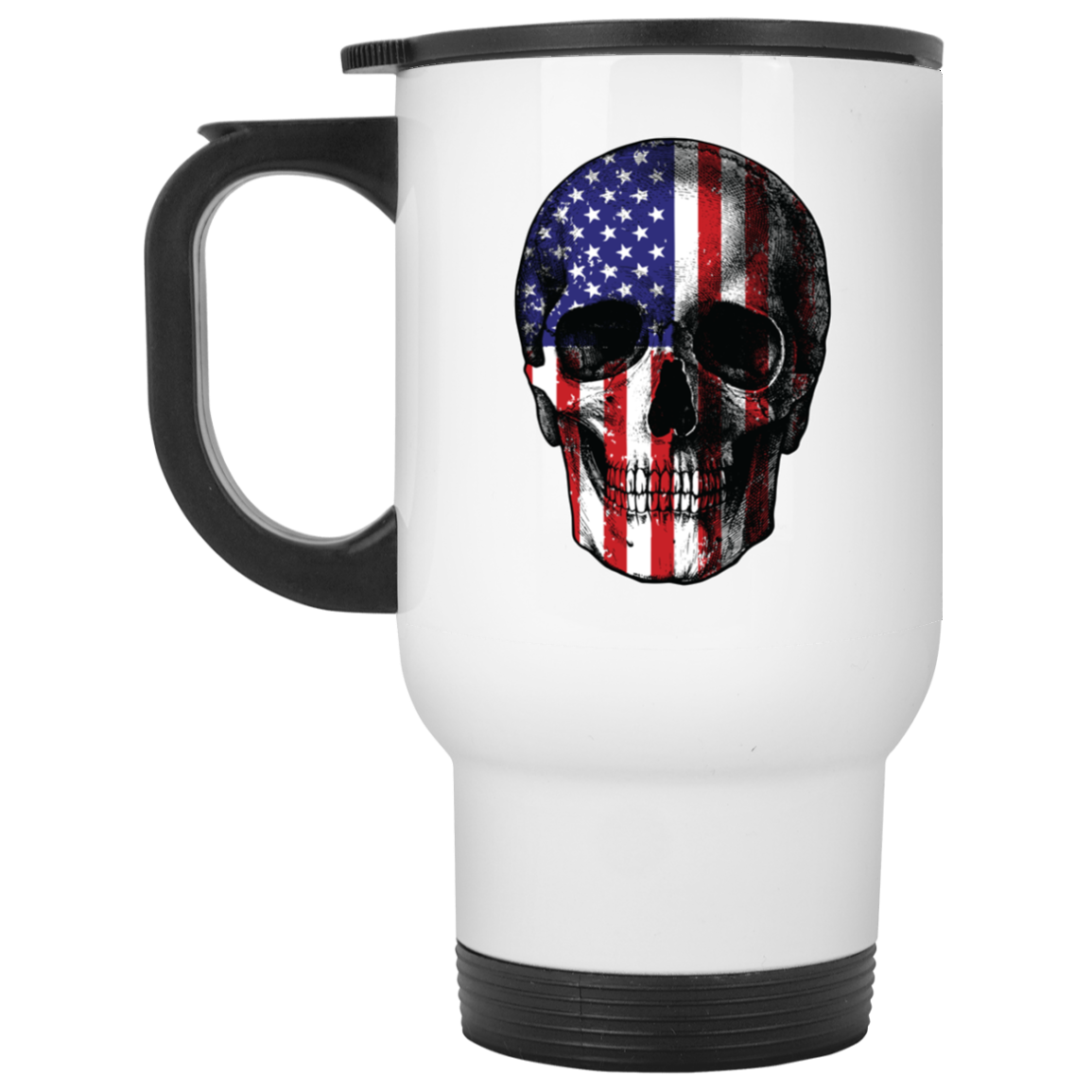 Patriotic - Skull Flag White Travel Mug