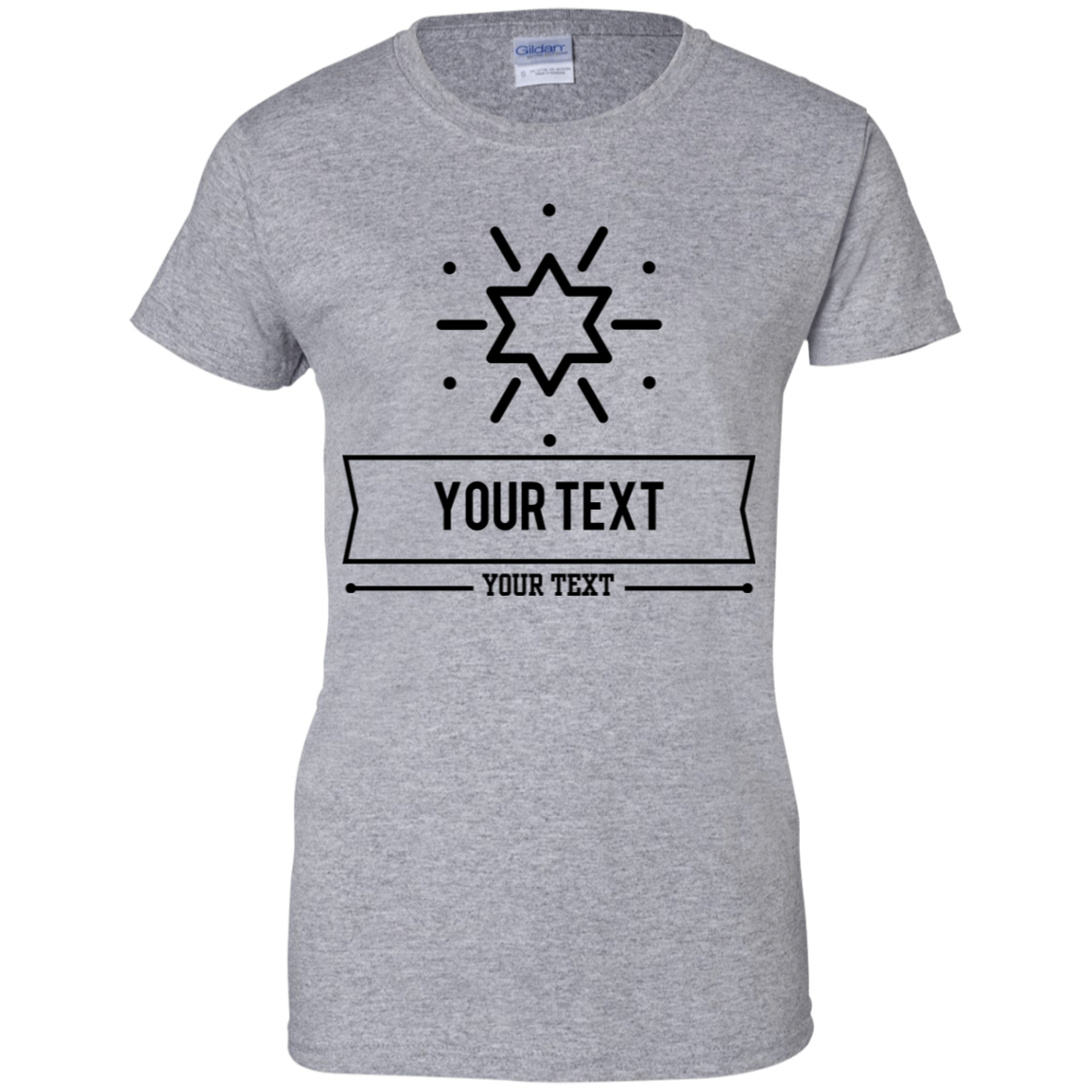 Personalized Custom Layout - Star Gildan Ladies' 100% Cotton T-Shirt