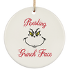 Resting Grinch Face Ceramic Circle Ornament