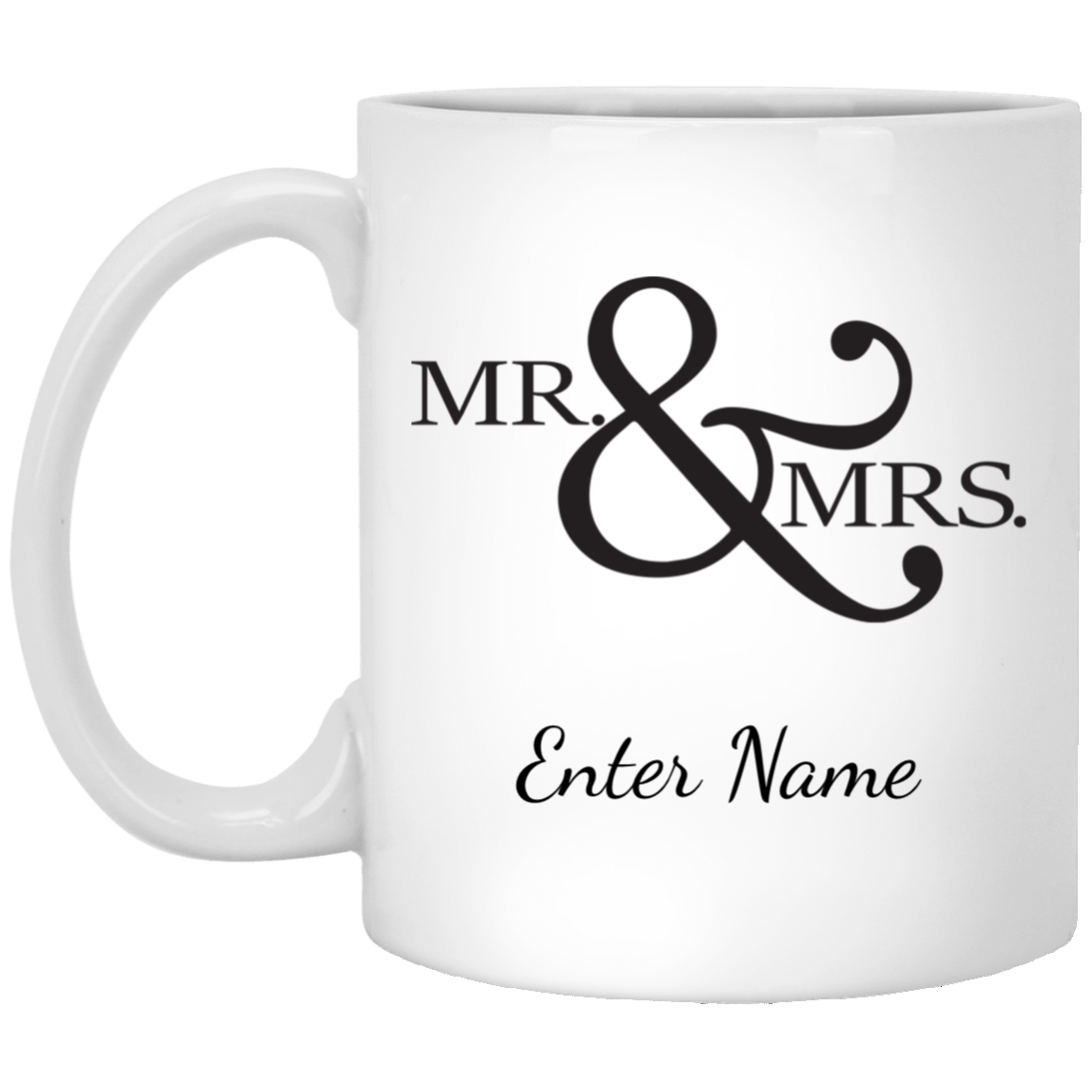 Wedding - Mr. & Mrs. Big And Symbol - Custom 11 oz. White Mug