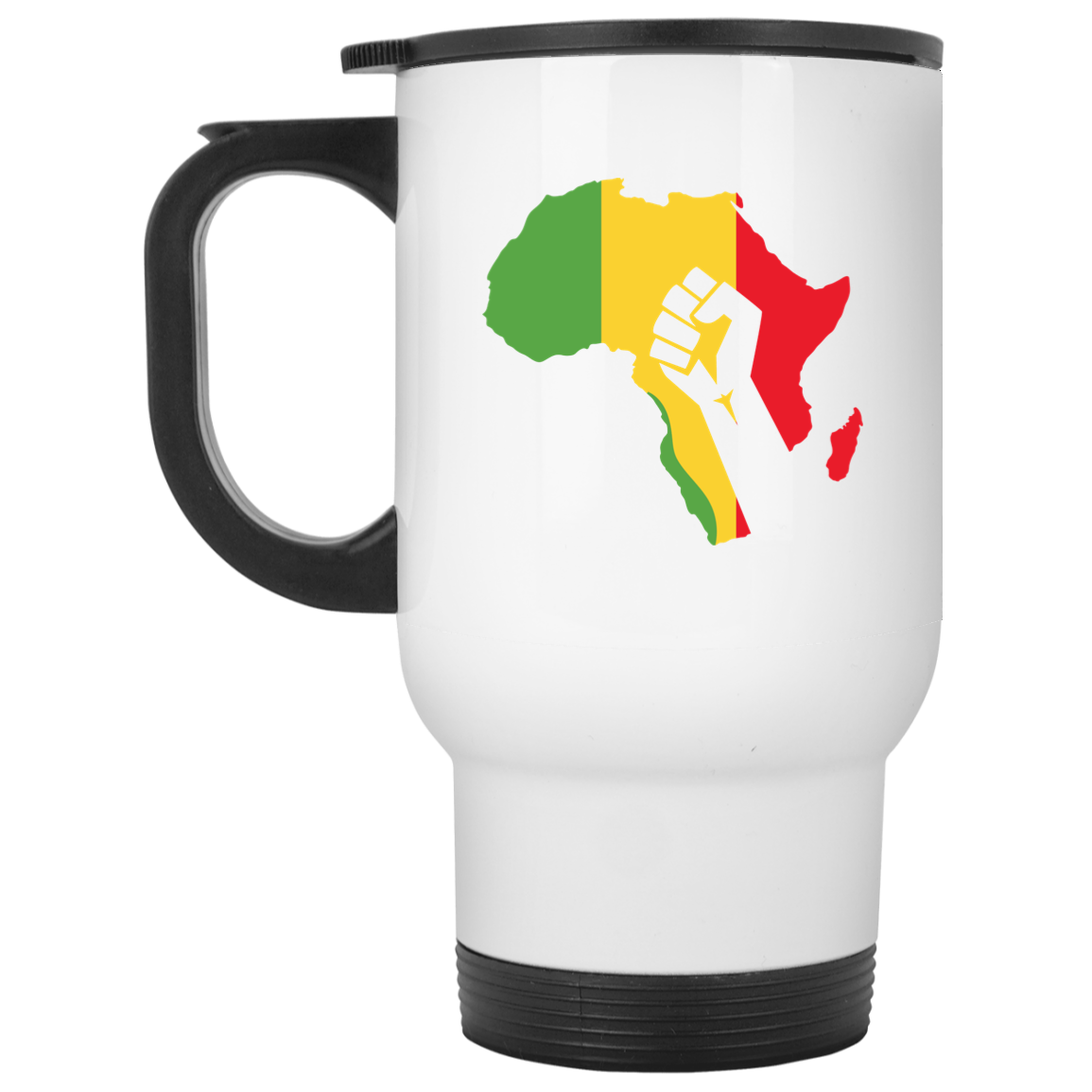 African Pride - Power Fist White Travel Mug