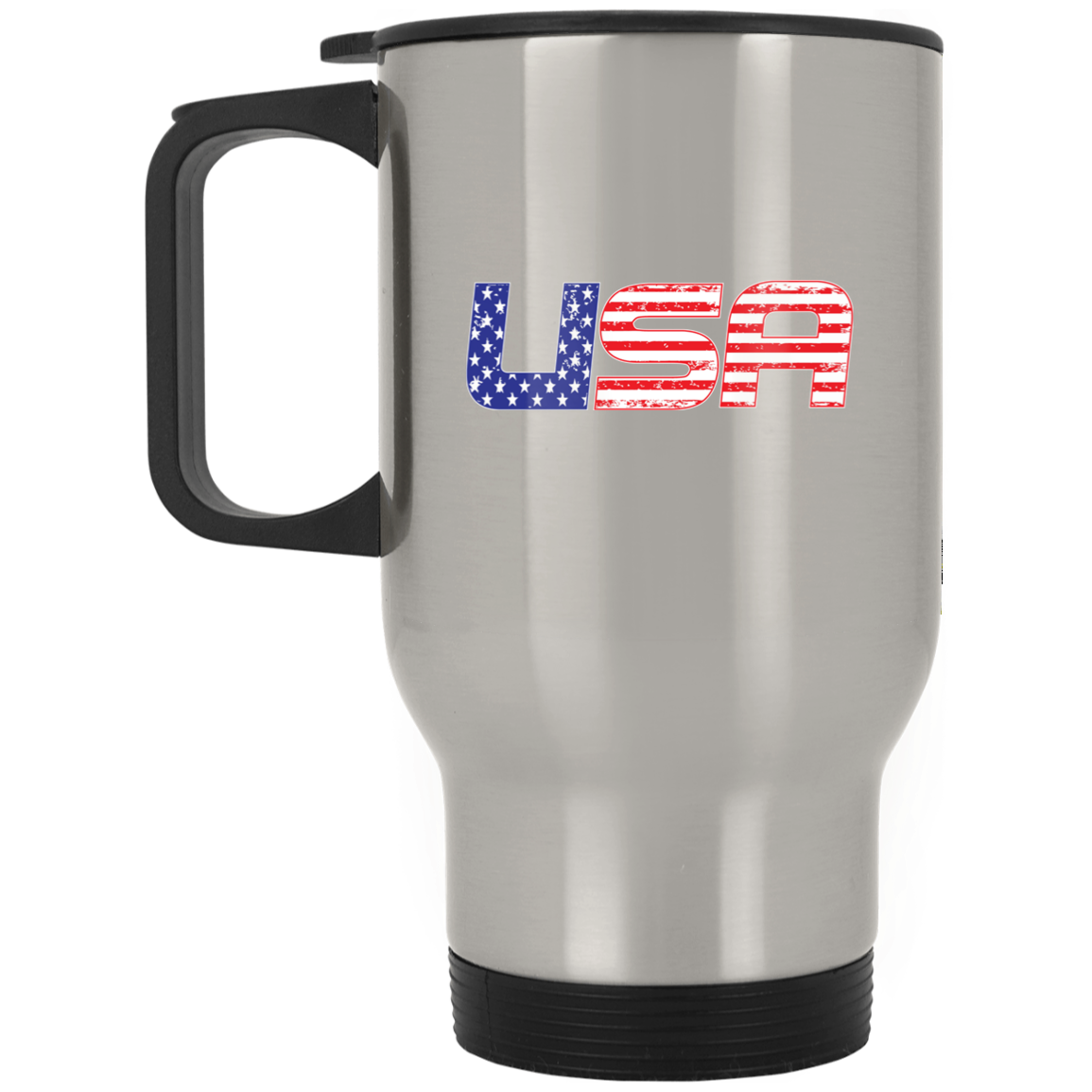 Patriotic - USA flag Silver Stainless Travel Mug