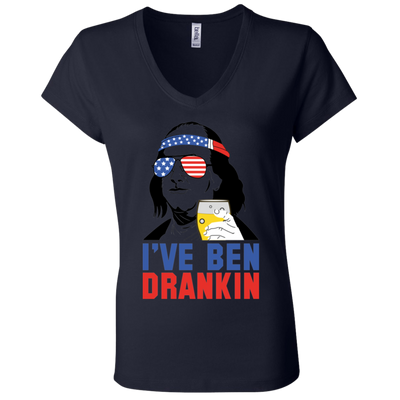 4th of July_I've been dranklin Bella + Canvas Ladies' Jersey V-Neck T-Shirt