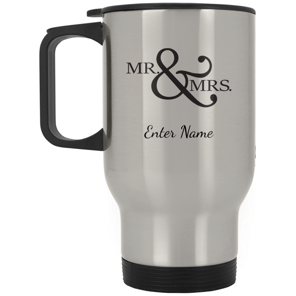 Wedding - Mr. & Mrs. Big And Symbol - Custom Silver Stainless Travel Mug