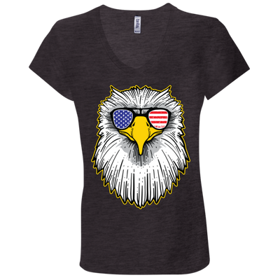 Patriotic - Eagle and Shades Bella + Canvas Ladies' Jersey V-Neck T-Shirt