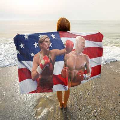 Politics - Elizabeth Warren punching Trump Beach Towel - 37x74
