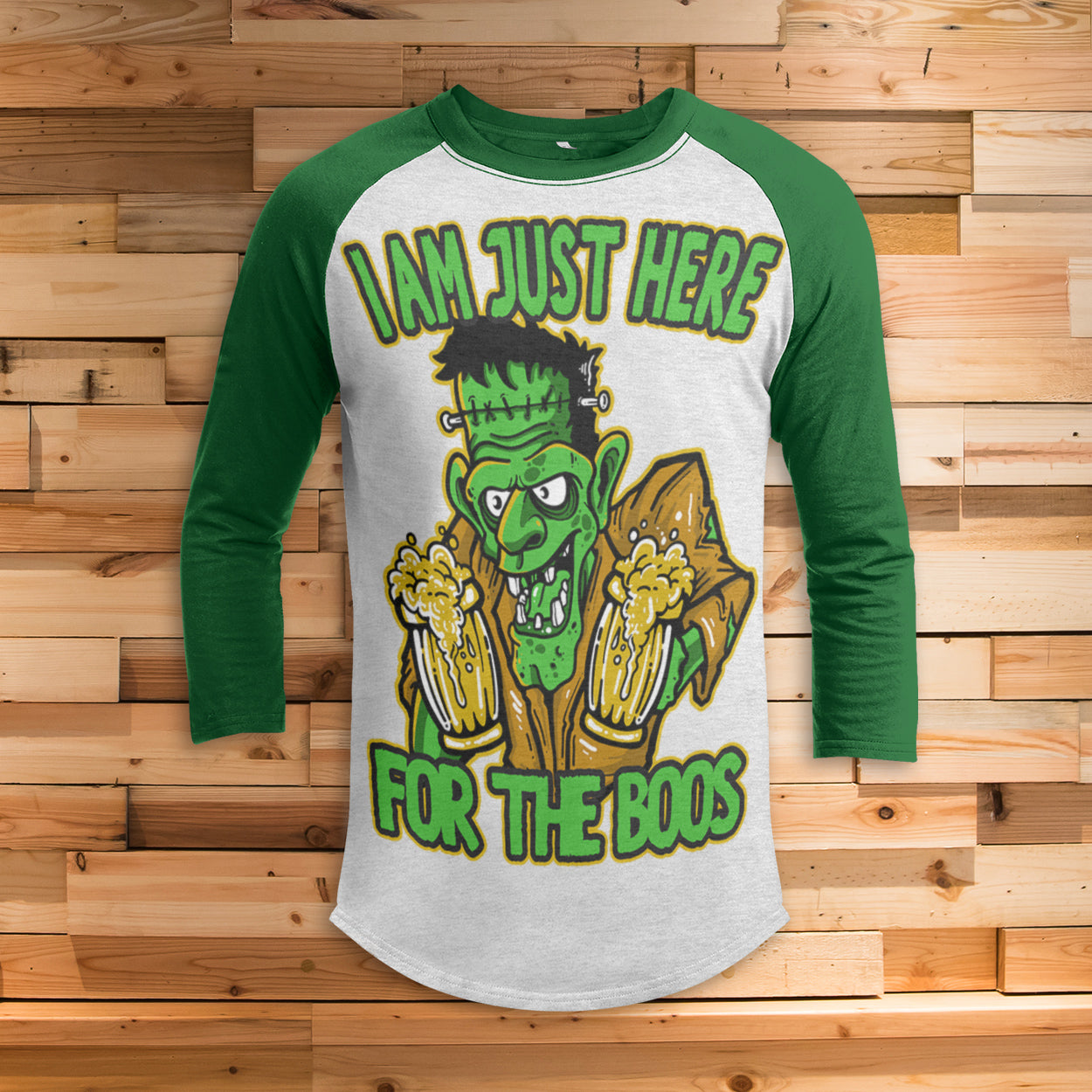 Frankenstein Here for the Boos All Over Print 3/4 Sleeve Raglan