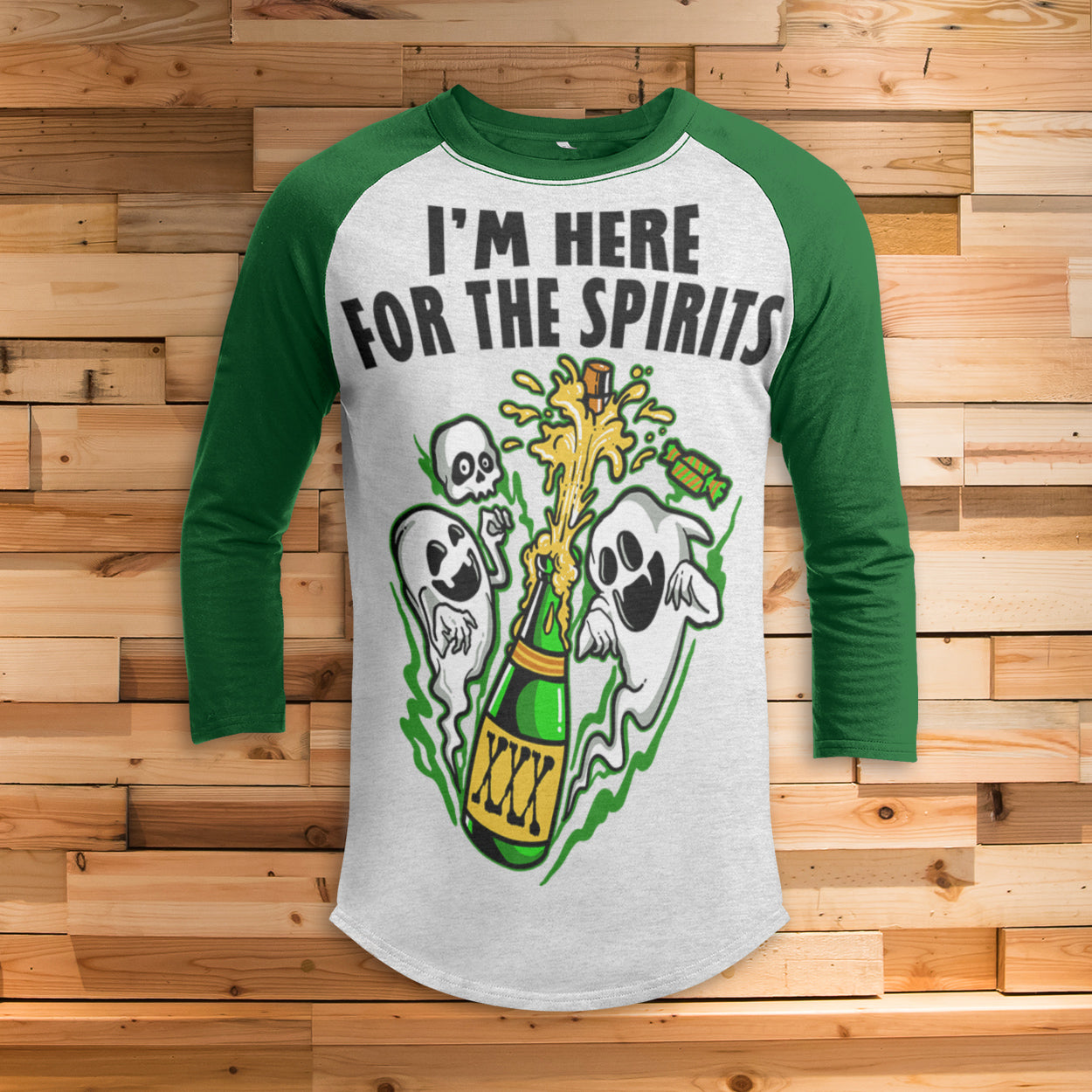 Here for the Spirits All Over Print 3/4 Sleeve Raglan