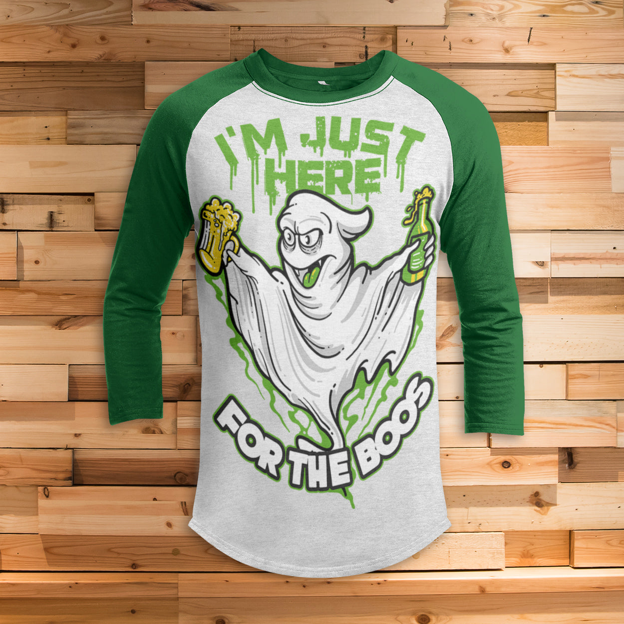 Just Here For The Boos All Over Print 3/4 Sleeve Raglan