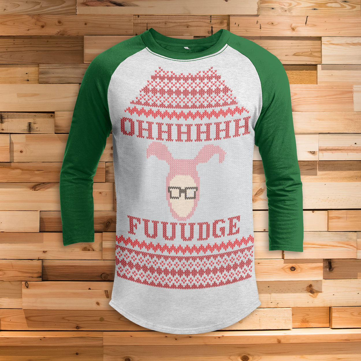 Ohh Fudge Ralphie Dark 3/4 Sleeve Raglan - Christmas Story Movie Shirt