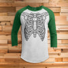 Skeleton Ribs All Over Print 3/4 Sleeve Raglan