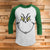 The Grinch Face 3/4 Sleeve Raglan - Grinch Movie Christmas Shirt