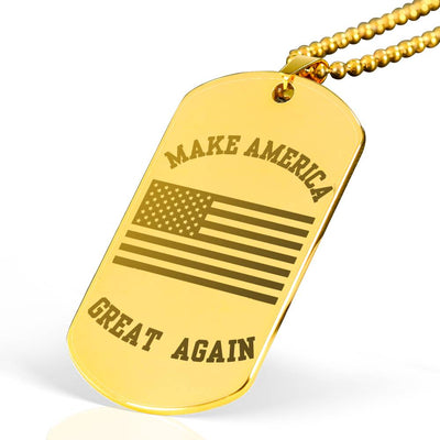Politics - Keepsake MAGA 18K Gold Plated Surgical Steel Dog Tag