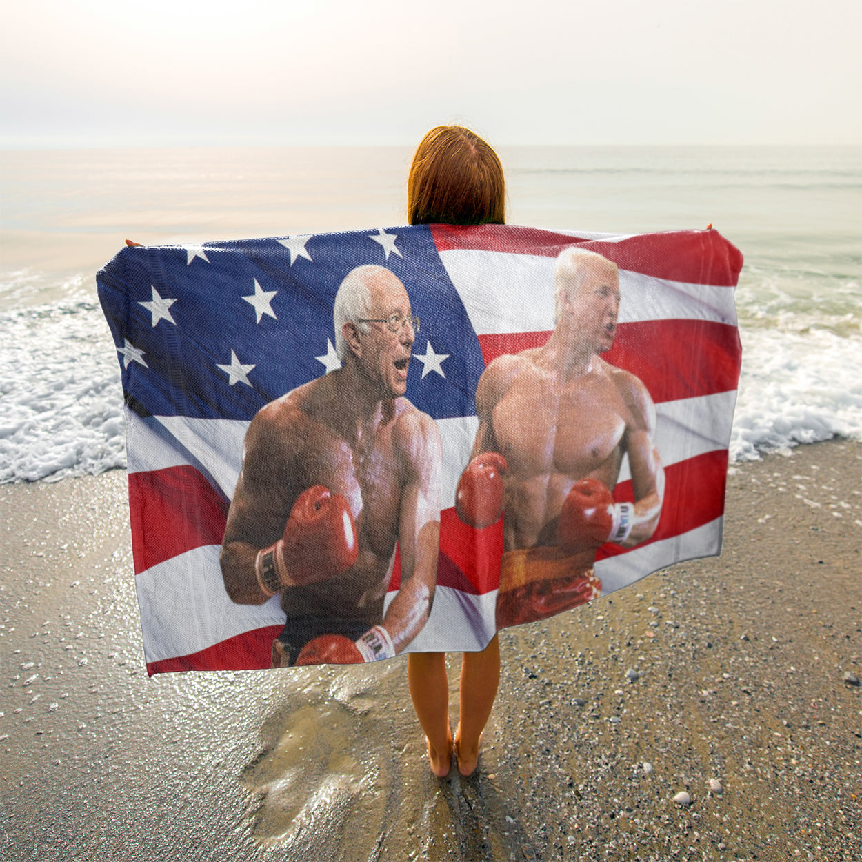 Politics - Bernie Sanders punching Trump Beach Towel - 37x74