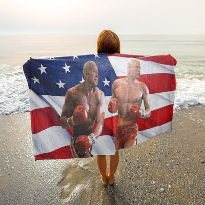 Politics - Biden is punching Trump Beach Towel - 37x74