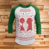 Jack Nightmare Ugly Christmas 3/4 Sleeve Raglan - Nightmare Before Christmas Movie Shirt
