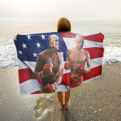 Politics - Trump punching Bernie Sanders Beach Towel - 37x74